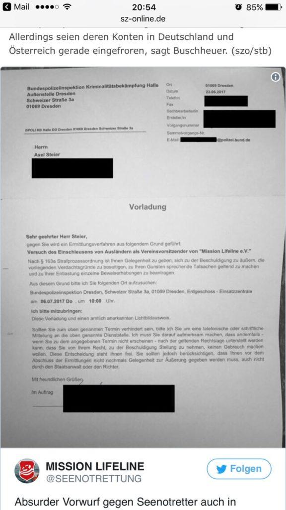 Axel Steier, indagato per favoreggiamento dell'immigrazione clandestina