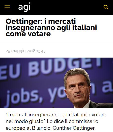 Oettinger, I mercati insegneranno agli italiani come votare