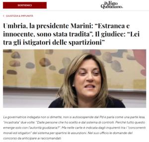 Presidente Regione Umbria, Catiuscia Marini (Pd), indagata